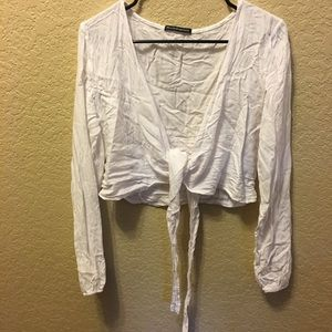 White front tie top